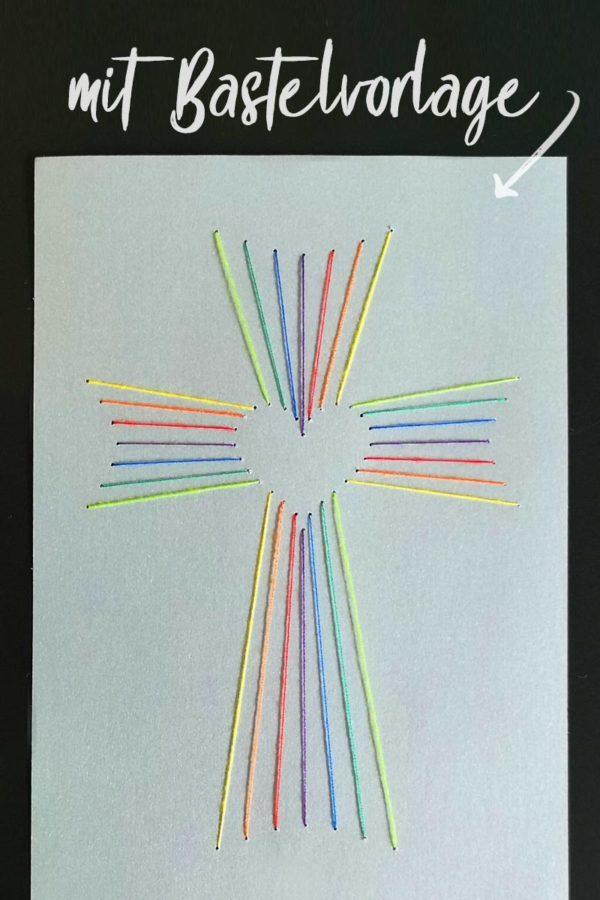 Fadengrafik Kreuz Mit Herz Bastelvorlage Plotterfreebie