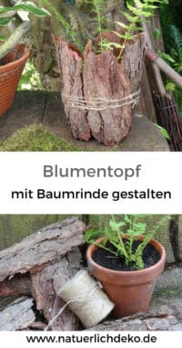 Blumentopf mit Baumrinde verkleiden