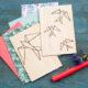 DIY Grußkarte aus Balsaholz mit geometrischem Schwalbenmotiv