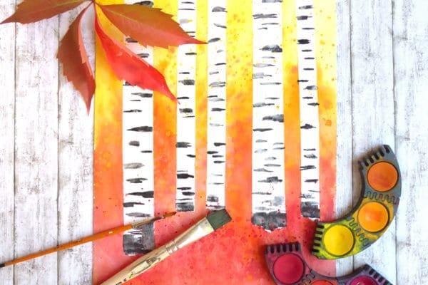 Malen mit Kindern: herbstlicher Wald mit Birken