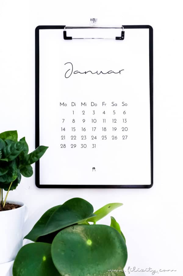 Minimalistischer Kalender 2019 (Druckvorlage)
