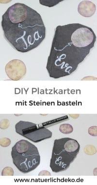 Platzkarten aus Steinen basteln