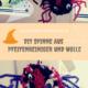 Halloween Spinnen basteln aus Pfeifenreiniger und Wolle