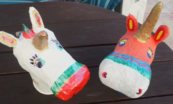 DIY Pappmaché Figuren – Einhorn Kopf selber basteln