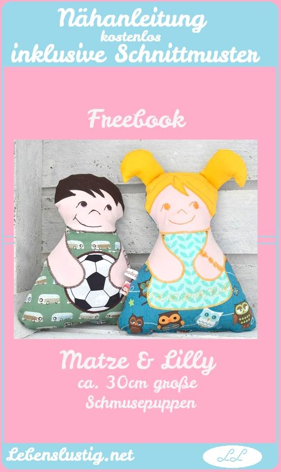 Freebook Matze & Lilly, 2 süße Schmusepüppchen