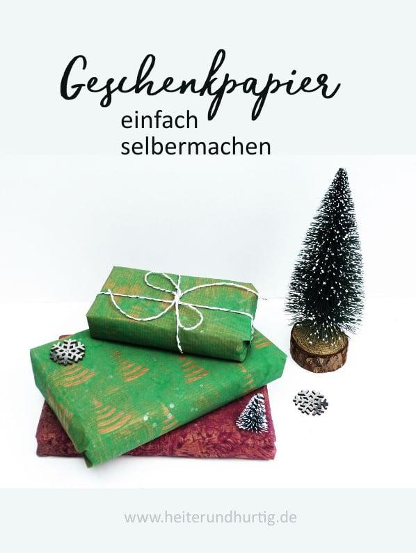 weihnachtliches Geschenkpapier selbermachen