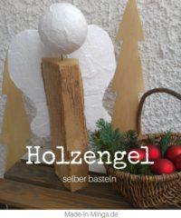 Engel aus Holzscheit bauen - Weihnachts-Deko