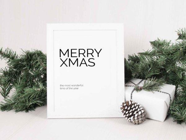 Minimalistisches Weihnachtsbild zum gratis Download