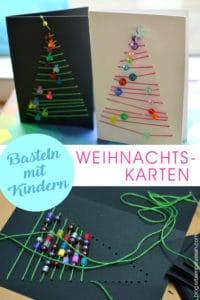 grafische Weihnachtskarten: Advents-Basteln mit Schulkindern