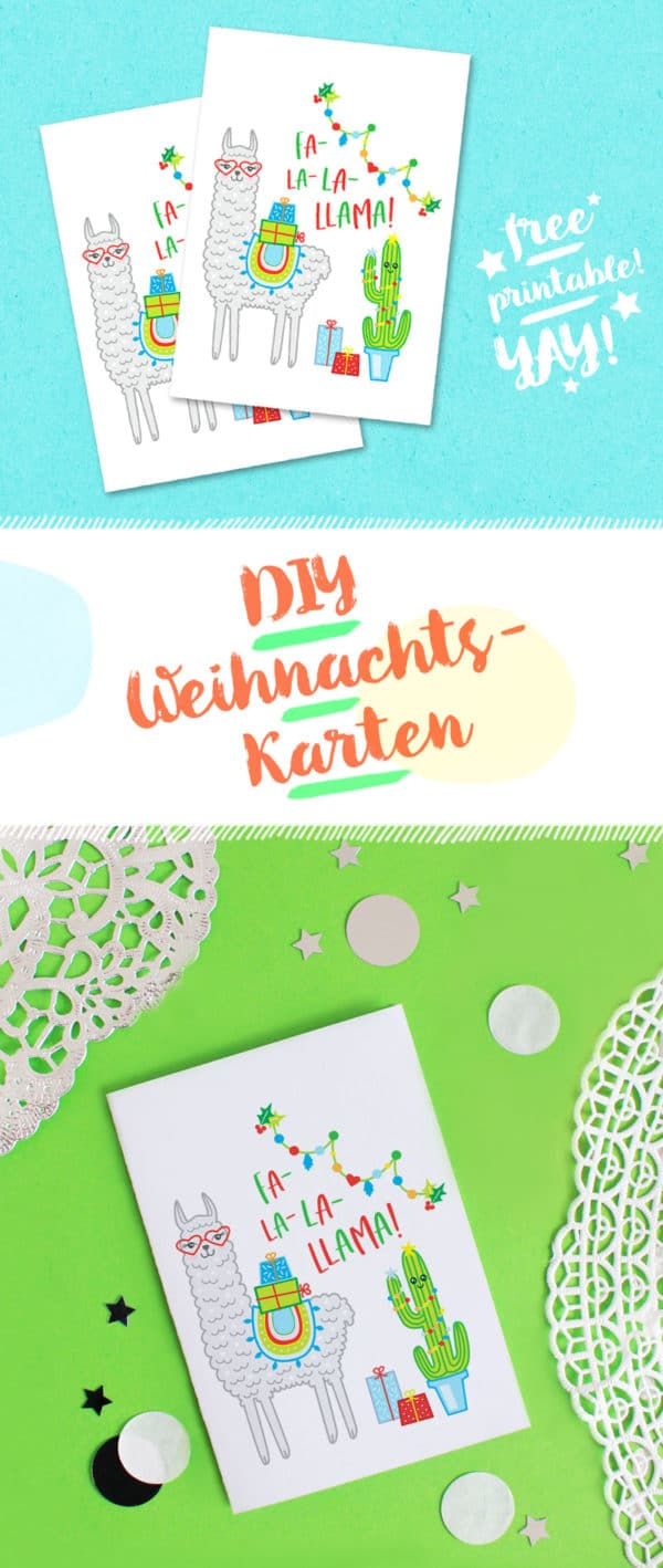 Diy Lama Weihnachtskarte Basteln Free Printable Handmade Kultur