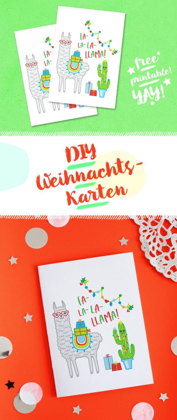 DIY LAMA-WEIHNACHTSKARTE BASTELN / FREE PRINTABLE