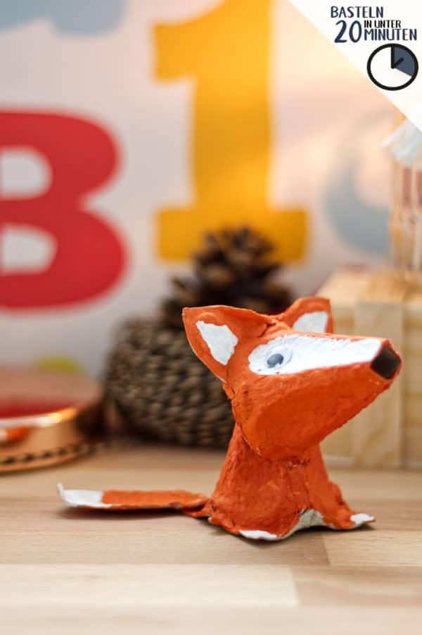 Fuchs basteln aus Eierkarton