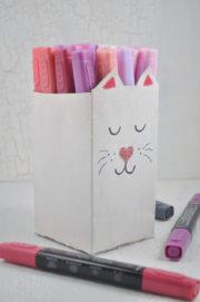 Stiftehalter im Katzenlook - Upcycling