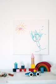 Leinwand mit Kinderzeichnung besticken