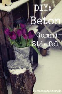 Gummistiefel upcycling - Betonvase