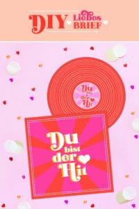 DIY Schallplatten-Karte basteln / Liebesbrief zum Valentinstag / FREE PRINTABLE