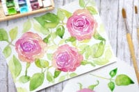 Rosen mit Aquarellfarben malen