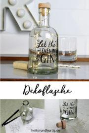 Dekoflasche mit Beleuchtung und Handlettering