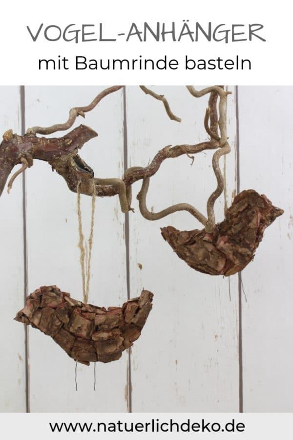 Vogel-Anhänger mit Baumrinde basteln