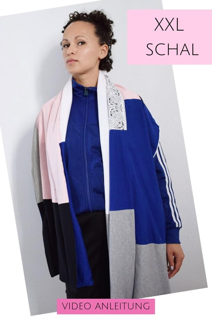 xxl schal aus jerseyresten nähen  handmade kultur