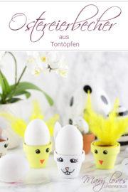 DIY-Eierbecher aus Tontöpfen in süßen Osterdesigns