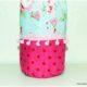 Stoffbeutel aus Stoffresten genäht z. B. als Geschenkverpackung für eine Flasche