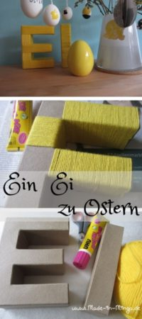 Oster-Deko: Pappbuchstaben mit Wolle umwickeln
