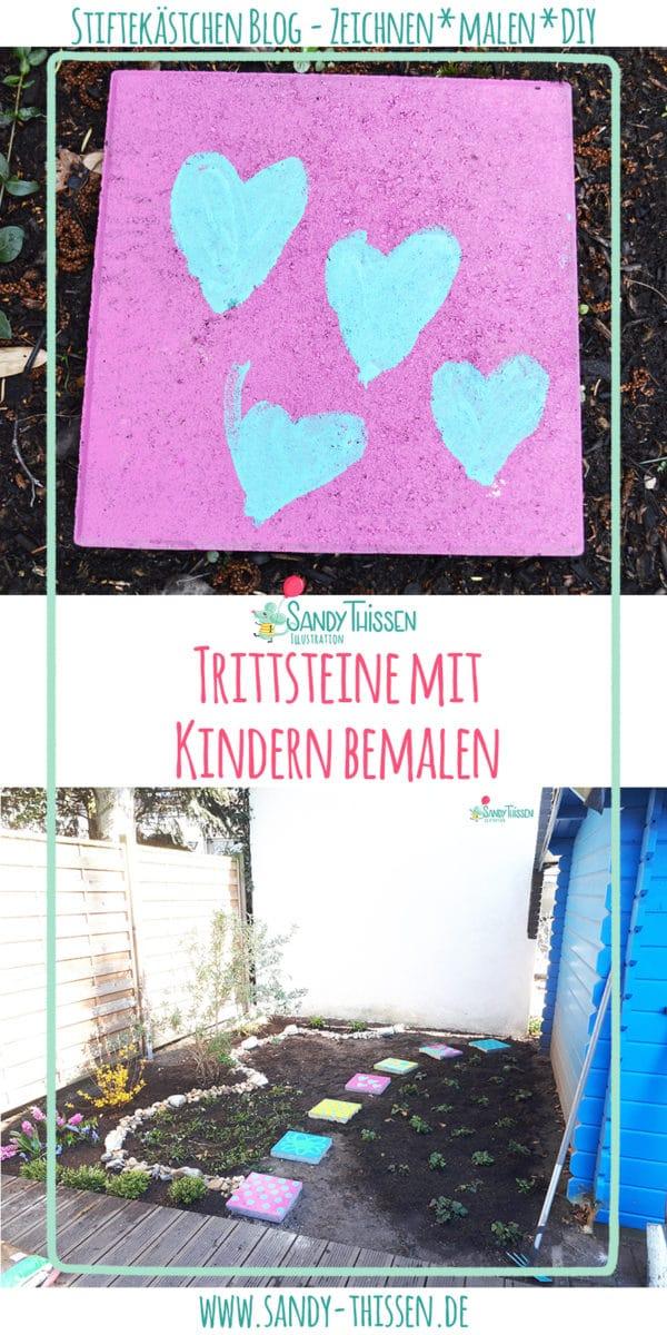 Outdoormalen mit Kindern - Trittsteine für den Garten