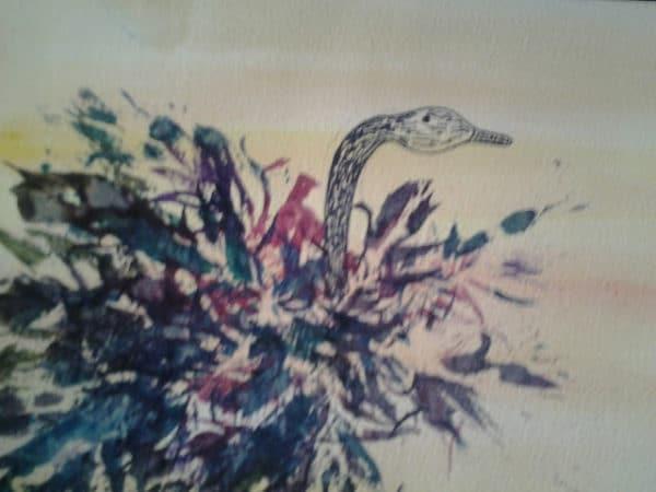 Paradiesvogel- ein Aquarell mit echter Feder gestalten