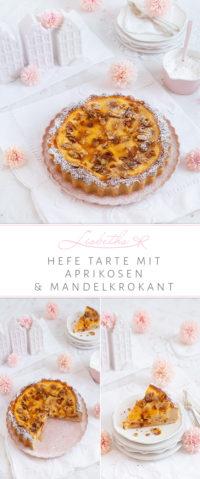 Hefe Tarte mit Aprikosen und Mandelkrokant