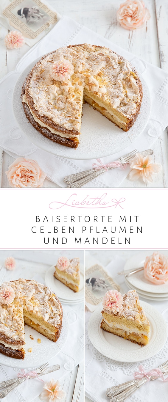 Pflaumen-Torte mit knuspriger Baiser Mandelhaube