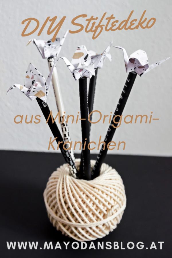 DIY Mini-Origami-Kraniche als Bleistiftdeko