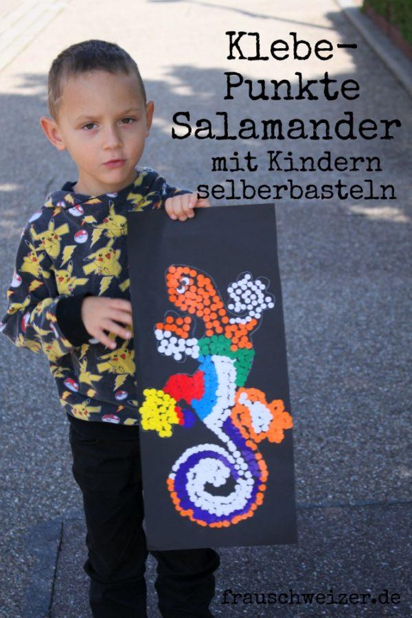 DIY für Kinder: Punkte Salamander kleben