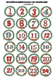 Freebie Printable Adventskalenderzahlen Thema Nähen