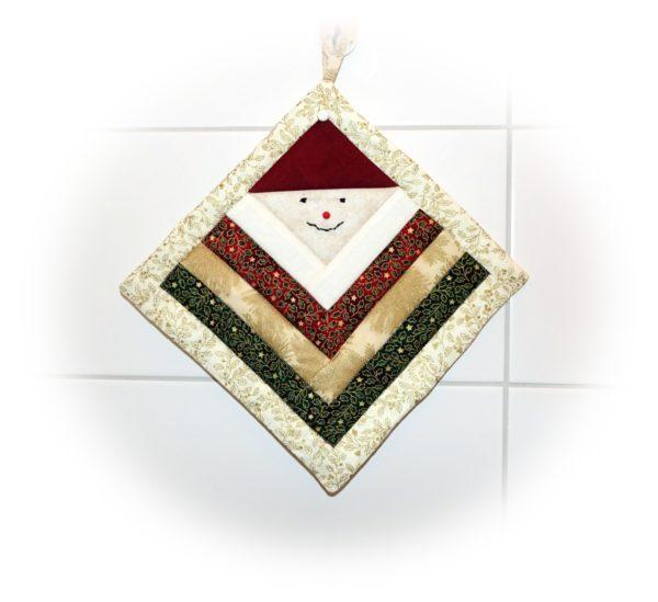 Topflappen Weihnachtsmann Patchwork - Stoffreste vernähen