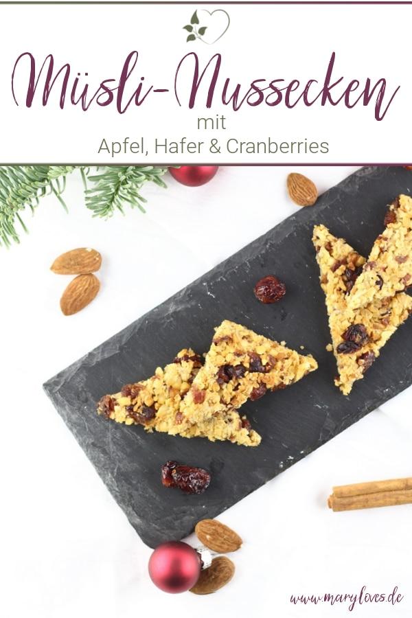 Gesund naschen: Winterliche Apfel-Hafer-Nussecken mit Cranberries