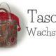 Einkaufstasche zum Zuziehen , Materialmix mit Wachstuch