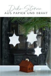 Weihnachtliche Sterne aus Draht und Papier