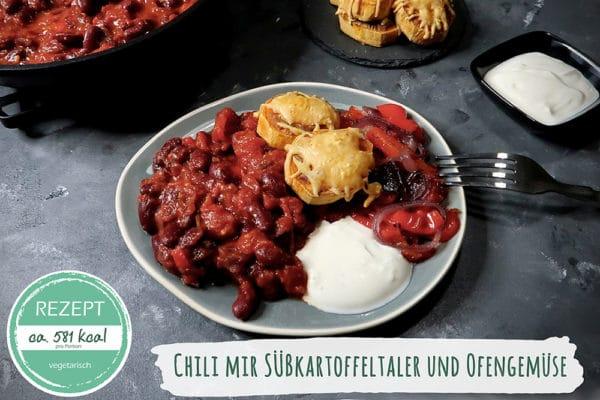 Rezept Chili mit Süßkartoffeltaler und Ofengemüse (vegetarisch)
