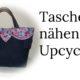 Upcycling Nähidee Jeanstasche aus alten Jeans und altem Kleiderstoff genäht, preiswert und schön !