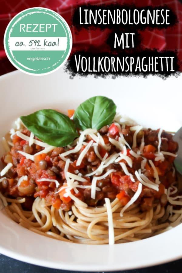 Linsenbolognese mit Vollkornspaghetti (vegetarisches Rezept)
