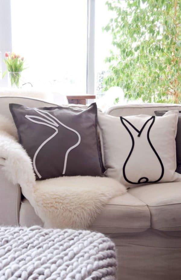 DIY - süße Hasenkissen zur Osterzeit! Ganz einfach mit Schnürsenkeln!