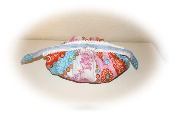 Faltentasche, Tasche , oval mit vielen Falten nähen aus zwei Soffkreisen