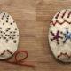 Bunte Ostereier basteln und sticken aus Modelliermasse