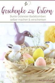 Bunte Ostereier-Badebomben als selbstgemachtes Ostergeschenk