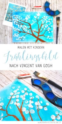 Malen mit Kindern: Frühlingsbild nach van Gogh