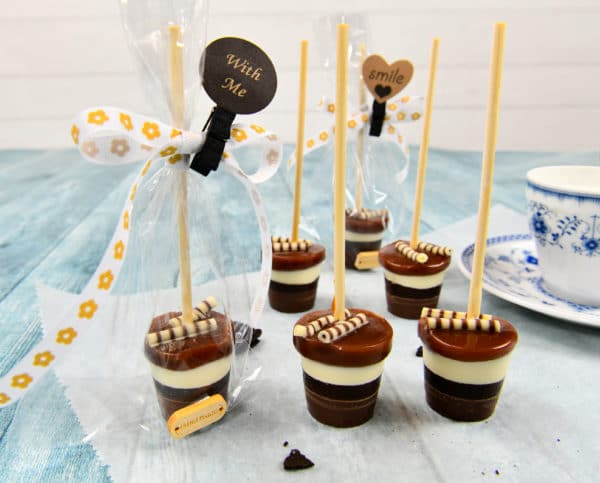 DIY Trinkschokolade am Stiel mit Karamell
