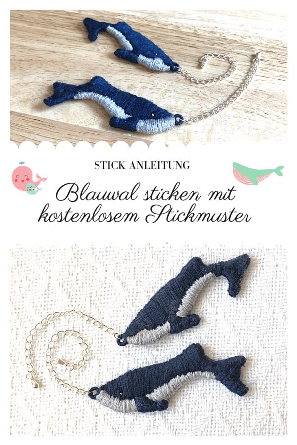 Blauwal sticken mit Vorlage