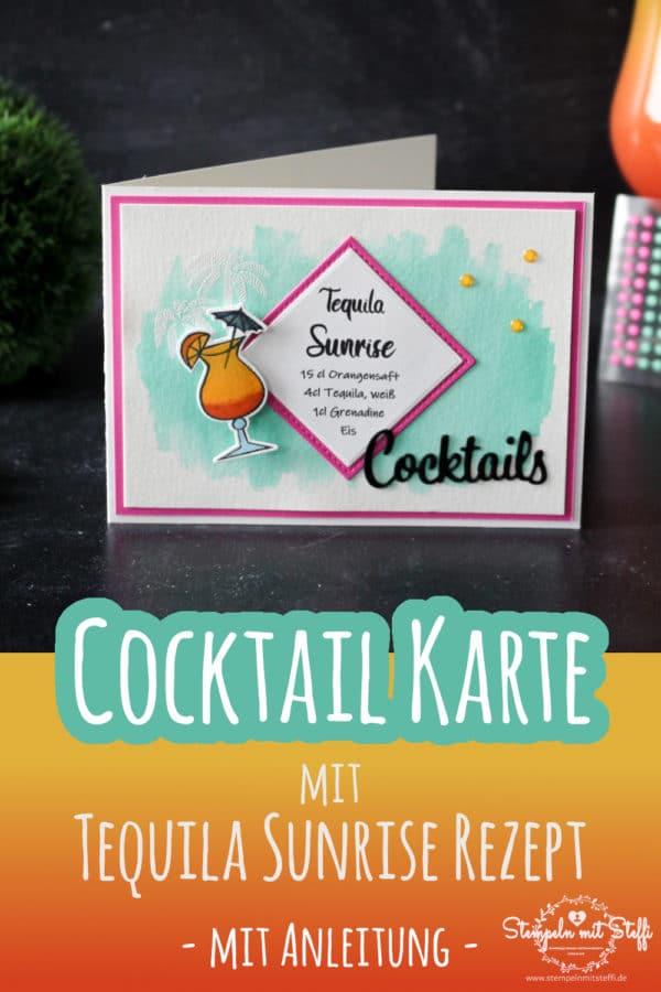 Cocktailkarte mit Tequila Sunrise Rezept (inkl. Anleitung)