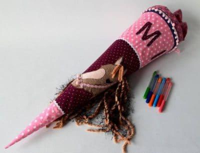 Schultüte handgenäht mit Name und Applikation, auf Wunsch gefertigt